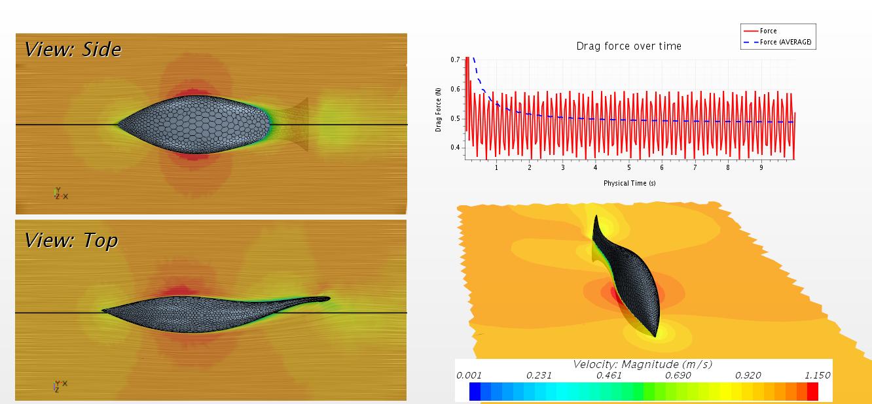 Das Bild zeigt eine Darstellung über die auf den Roboterfisch wirkenden Kräfte